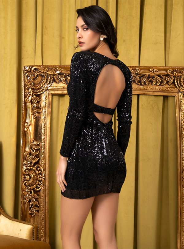 Deep Vneck Black Sequins Slim Fit Party Dress With Sleeves LE98779