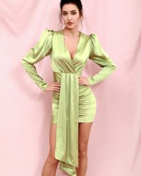 Light Green Vneck Streamer Bubble Long Sleeve Bodycon Mini Dress LE98381