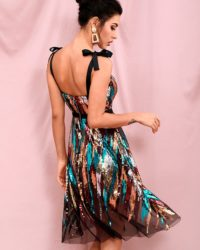 Colorful Sequins With Black Tulle Short Party Dress With Straps LE98329