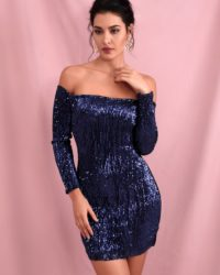 Navy Bling Sequins Drop Shoulder Mini Party Dress With Sleeves LE98570