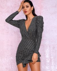 Vneck Long Sleeve Ruffled Sequins Sparkly Bodycon Mini Party Dress With Sleeves LE98729