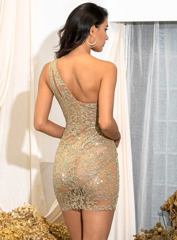 Sexy Cut Out Gold Glitter See-through Mini Party Dress One Shoulder LE98699