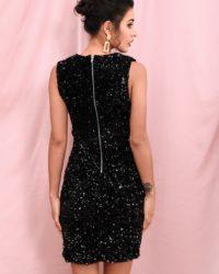 Sexy Deep Vneck Black Sequins Formal Mini Party Dress LE98278