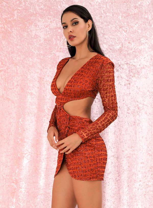 Glitter Orange Deep Vneck Cross Cut Out Slim Fit Party Dress With Sleeves LE98870