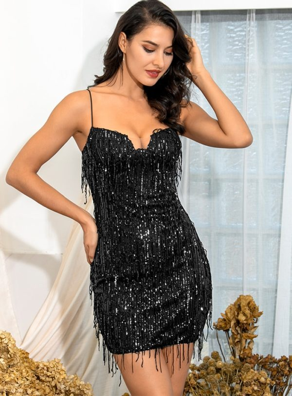 Little Black Sling Fringed Sequins Bodycon Mini Party Dress With Spaghetti Straps LE98665