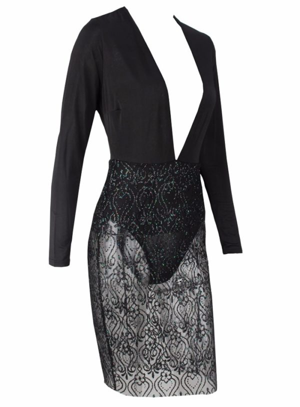 Sexy Black See-through Vneck Bodycon Party Dress With Long Sleeves LE99822