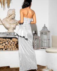 Silver Strapless Ruffled Split Maxi Party Dress LE98650