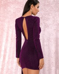 Purple Round Neck Ribbon Long Sleeve Mini Party Dress LE98838