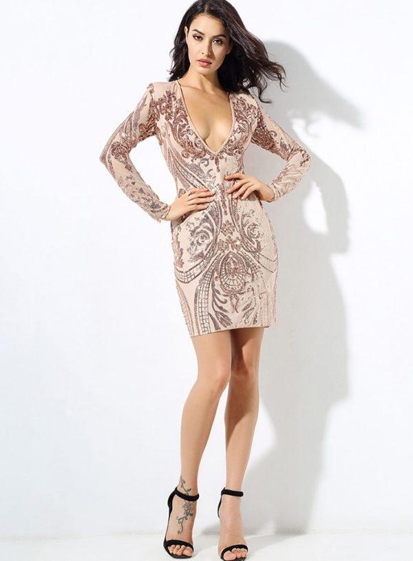 Deep Vneck Sequins Bodycon Long Sleeve Party Dress LE99732