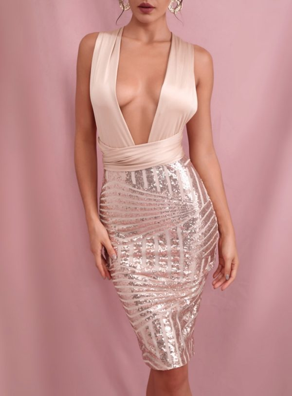 Sexy Deep Vneck Rose Gold Sequins Mini Bodycon Dress With Changeable Straps LE98567