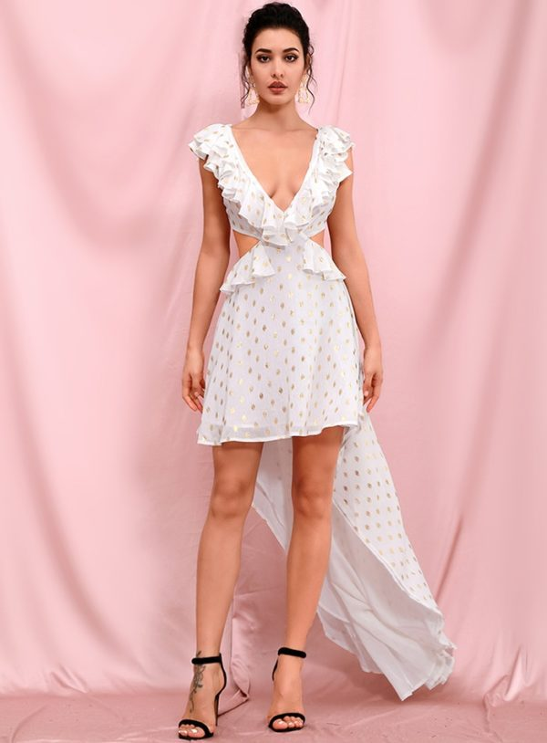 Chic High Low White Cut Out White Party Dress With Vneck Ruffles LE98263