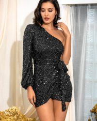 Black Sequins Single Long Sleeve Bodycon Mini Party Dress With Sash LE98634