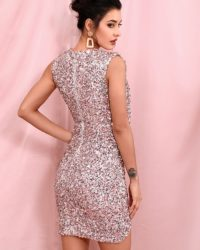 Deep Vneck Sequins Sparkly Bling Mini Party Dress LE98277