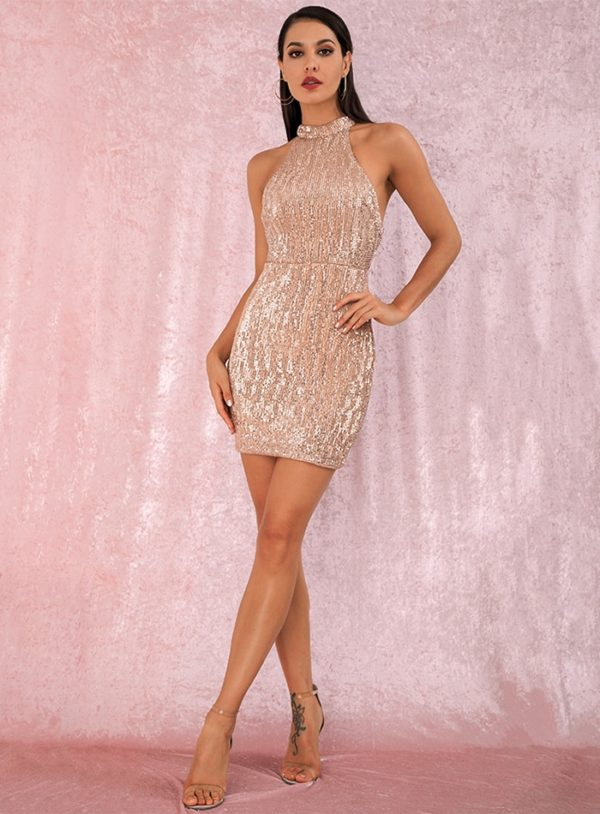 Mini Gold Bling Sequins Halter Bodycon Party Dress LE98829