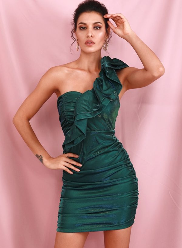 Green One Shoulder Ruffled Bodycon Reflective Party Dress LE98485