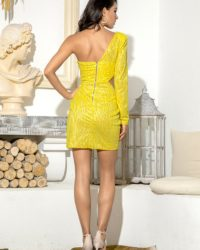 Yellow Cut Out Single Sleeve Glitter Bodycon Party Dress LE98641