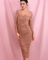Nude Elastic Mesh Knee Length Party Dress With Slim Long Sleeves LE98596