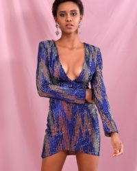 Colorful Sequins Geometric Pattern Sparkly Mini Party Dress With Long Sleeve LE98438