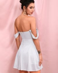 Sexy Silver Reflective Off Shoulder Puffy Mini Party Dress LE98254