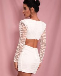 Sexy White Cut Out Cross Glitter Fitted Party Dress With Long Sleeves LE98564