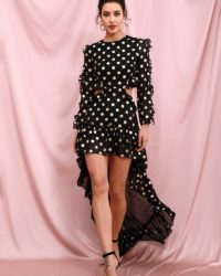 Polka Dot Black High Low Cut Out Long Sleeve Party Dress LE98382