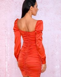 Red Sexy Cut Out Pleated Bodycon Mini Party Dress With Long Sleeves LE98716
