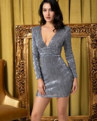 Deep Vneck Grey Sequins Slim Fit Party Dress With Sleeves LE98778