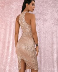 Gold Halter Sequins Knee Length Party Dress LE98824