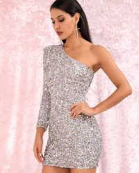 Silver One Shoulder Sparkly Sequins Bodycon Mini Party Dress LE98619