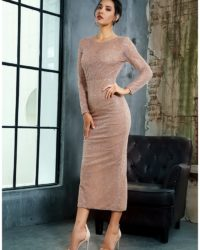 Formal Open Back Rose Gold Sequins Fitted Mid-calf Party Dress LE99337