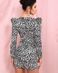 Sexy Vneck Leopard Print Bubble Long Sleeve Mini Party Dress LE98488