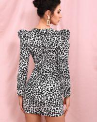 Sexy Vneck Leopard Print Bubble Long Sleeve Mini Party Dress LE98488