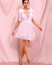 Deep Vneck Pink Mesh Ruffled Puffy Mini Party Dress LE98293