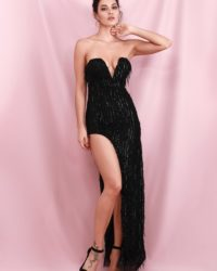 Sexy Black Side Slit Elastic Sequins Party Dress With Tassel LE98530