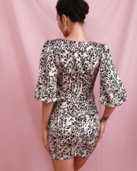Deep Vneck Lantern Half Sleeve Leopard Print Mini Party Dress LE98433