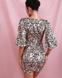 Deep Vneck Lantern Half Sleeve Leopard Print Mini Party Dress LE98433
