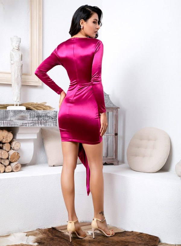 Sexy Vneck Shinning Bodycon Party Dress With Long Sleeves LE99180