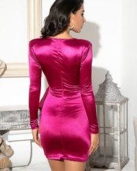 Sexy Deep Vneck Reflective Fabric Mini Bodycon Dress With Buckle LE98747