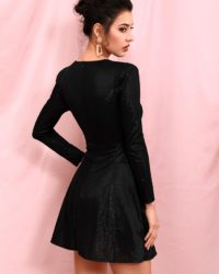Sexy Little Black Deep Vneck Long Sleeve Bodycon Party Dress LE98359