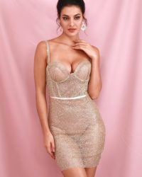 Glitter Sexy Gold Tube Top Mini Bodycon Dress Backless LE98615