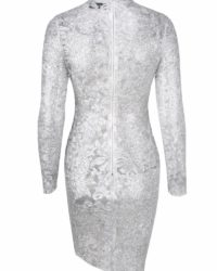 Silver Sequins Bodycon Long Sleeve Party Dress LE99804