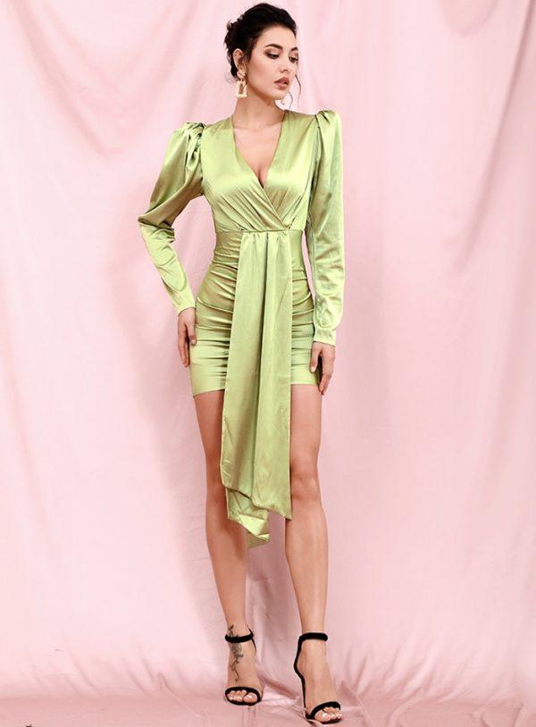 Light Green Vneck Streamer Bubble Long Sleeve Bodycon Mini Dress LE98381