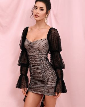 Black Polka Dot Mesh Long Sleeve Bodycon Mini Dress LE98288