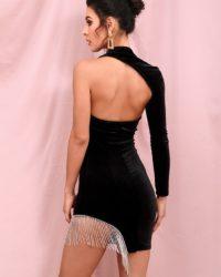 Single Sleeve Little Black Velvet Mini Dress With Tassel Rhinestones LE98363