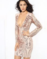 Deep Vneck Sequins Bodycon Long Sleeve Party Dress LE99732