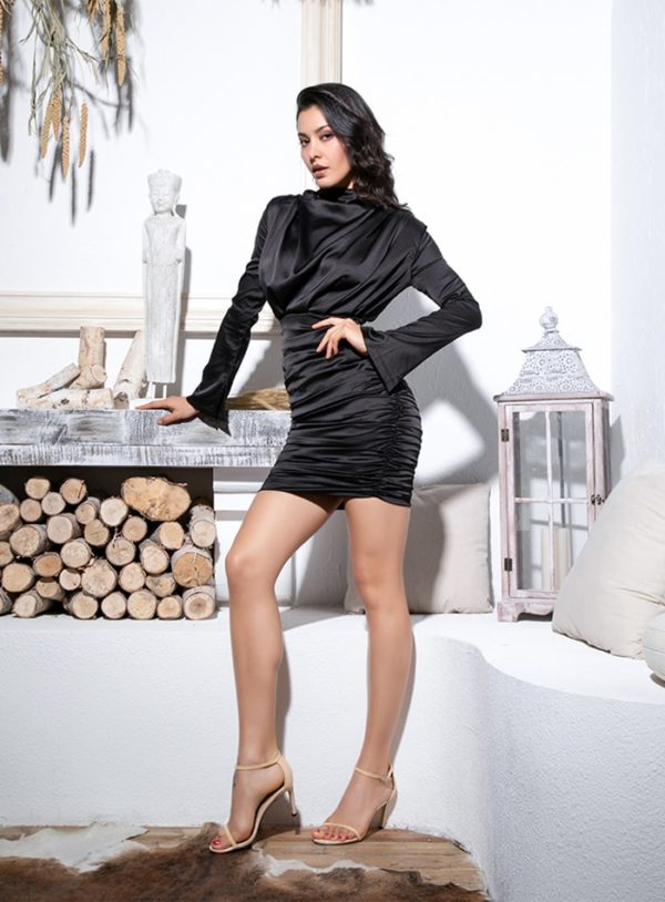 Elegant Little Black Loose Upper Body Bodycon Going Out Dress With Long Sleeves LE99158