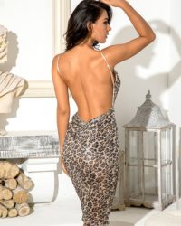 Deep Vneck Bodycon Leopard Sequins Knee Length Party Dress LE98677