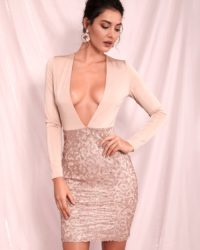 Deep Vneck Sexy Bodycon Glitter Nude Party Dress With Long Sleeves LE98568