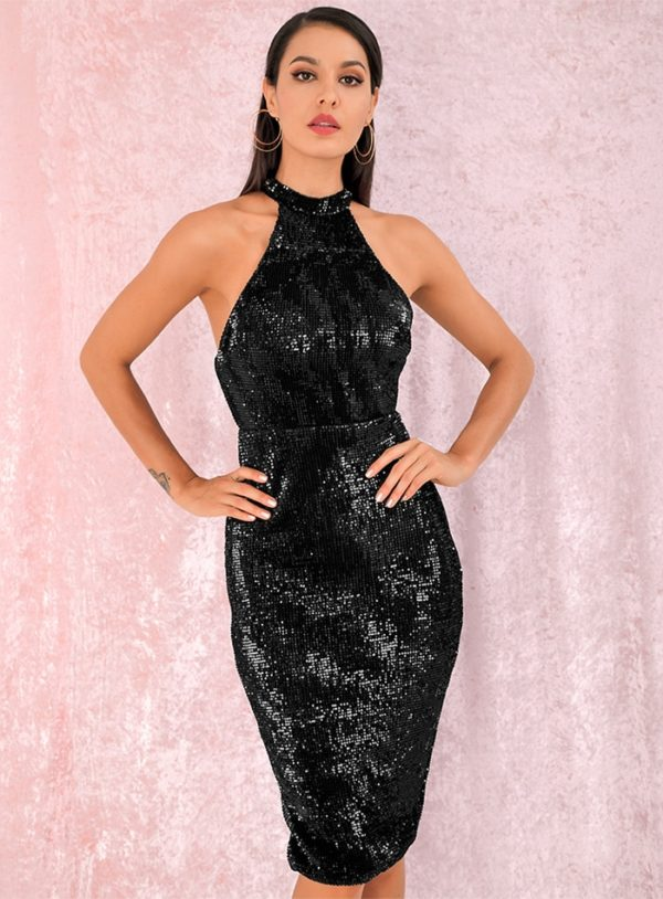 Black Halter Sequins Knee Length Party Dress LE98823
