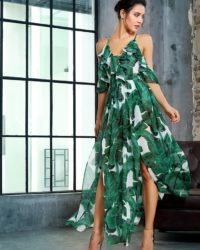 Green Leaf Print Cut Out Chiffon Jumpsuit Wiith Straps LE99413